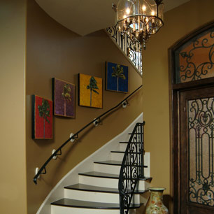 Entry with chandelier lighting, wood flooring and Benjamin Moore paint