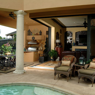 Outdoor Living featuring furniture, area rug, pillows and accessories